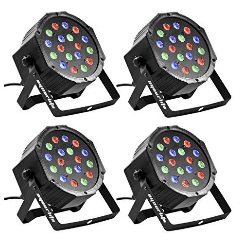 Eyourlife Bühnenbeleuchtung Discolicht Bühnenlicht Par LED 30W Lichteffekt DMX512 RGB Stage Light 18LEDs -EU Stecker (4 Stück)