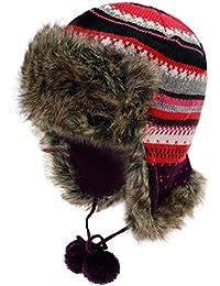 Fiebig Gorra De Aviador Chica Gorro Gorros Piloto Sombrero Piel Punto  Invierno A Rayas Con Forro Polar Niños (FI… f52e47c5525