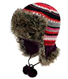 Fiebig Gorra De Aviador Mujer Gorro Gorros Piloto Sombrero Piel Punto Invierno A Rayas Forro Polar Para Mujeres (FI-71298-W16-DA1-11-55) incl. EveryHead-Hutfibel