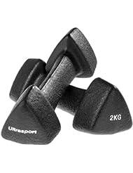 Ultrasport Haltères en néoprène avec poignée Soft Touch, haltères de gymnastique disponibles dans différents tailles (1 kg, 2 kg et 3 kg) ou en kit avec support, idéal pour s'entraîner chez soi