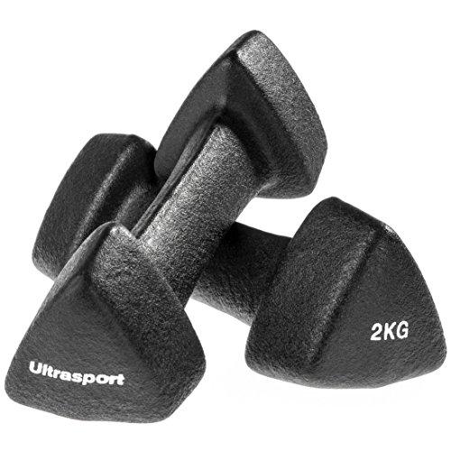 Ultrasport Neopren Hanteln mit Soft-Touch Griff, Gymnastikhanteln in verschiedenen Gewichten – 1 kg, 2 kg und 3 kg – oder als Set mit Ablageständer für die Hanteln, perfekt fürs Training daheim, Set 1 x 2 kg, 1 x 2 kg, 1 x 3 kg