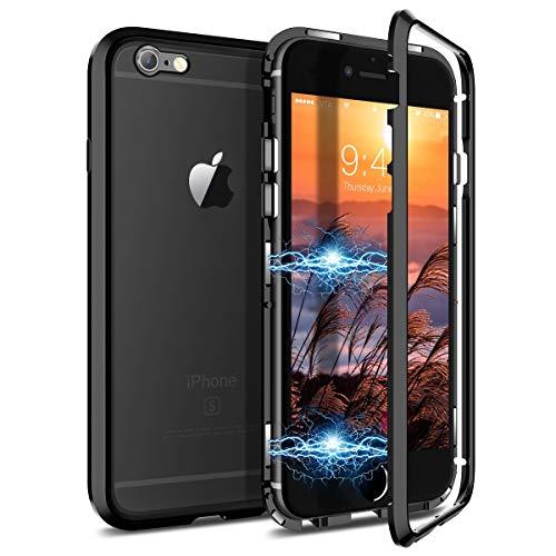 CE-Link Kompatibel mit iPhone 6 Hülle iPhone 6s Hülle Glas mit Magnetisch Panzerglas Rückseite Durchsichtig Handyhülle Transparent Hard Case Ultra Slim Dünn 360 Grad Full Body - Schwarz