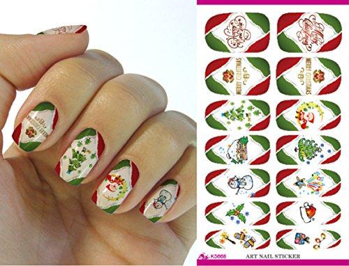 Feuille complète d' Noël autocollant de transfert à l'eau pour l'art des ongles K5668 Nail Sticker Tattoo - FashionLife