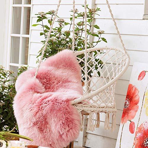 Hängesessel zum Aufhängen – mit rundem Sitzkissen – inkl. Spreizstab – Weiß Beige – Belastbarkeit max. 100 kg - 4