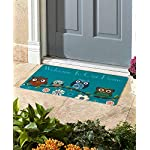 Bozh Personalized Doormats with Initial Rustic Wood Decor Kitchen Rugs Funny Welcome Mats 23.6x15.7 Floor Mats Teal Home Outdoor Indoor Rubber Mats