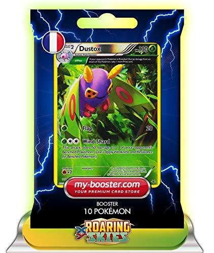 DUSTOX (Pudox) Reverse Holo Alf Art 8/108 130HP XY06 Roaring Skies - Booster verbessert Thunderbolt mit 10 Englische Karten Pokemon