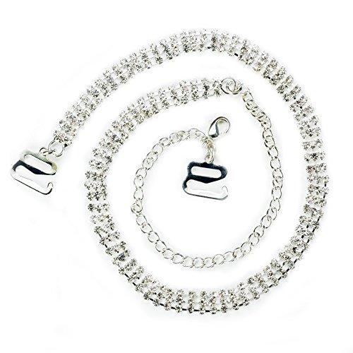 TreasureBay - Catenella con tripla fila di diamanti sintetici trasparenti,