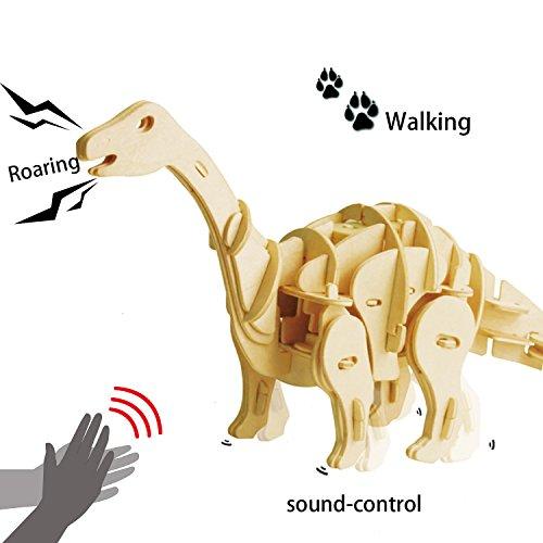 ROBOTIME Dinosaurier Spielzeug für Kinder 6, 7, 8 Jahre und Älter, Apatosaurus Bausatz Holz 3D Puzzle Steckpuzzle Geschenk für Geburtstag Weihnachten für Erwachsene