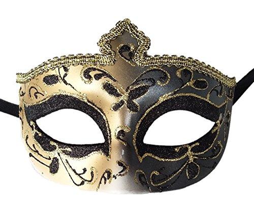 Femenino Mascarada Máscara Vendimia veneciano Fiesta Máscara Decorativo Mardi Gras Máscara (D Negro / Oro)