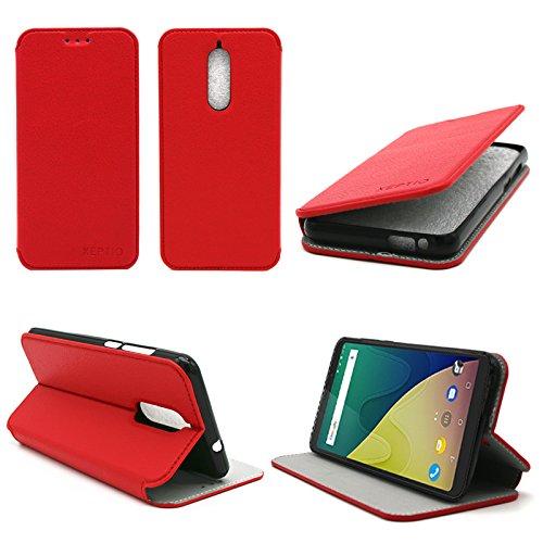 Wiko View 4G 5.7 zoll Tasche Leder Hülle rot Cover mit Stand - Zubehör Etui Wiko View Dual Sim Flip Case Schutzhülle (PU Leder, Handytasche Red) - XEPTIO accessories
