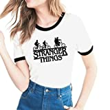 Minetom Damen Sommer Rundhals Kurzarm T-Shirt Stranger Things Brief Drucken Bluse Shirts Casual Oberteile Hemd Tops Liebhaber Freunde Outfit Fahrrad 01 DE 38