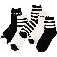 5 Paar Weiß und Schwarz Streifenmuster Crew Socken für Frauen