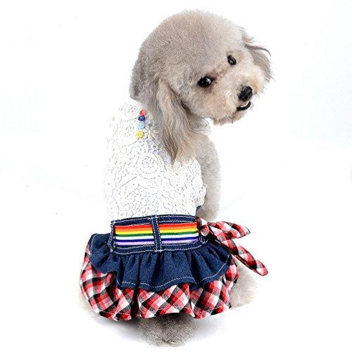 SELMAI Kleine Hunde Prinzessin Kleid Denim Rock Hohl Floral Super Weste Shirt Girl Sundress für Frühjahr Sommer Herbst -