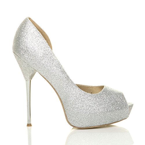 Donna tacco alto lato aperto brillare apertura in punta scarpe décolleté taglia Argento luccichio