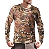 Inawayls❤ Maglia a Manica Lunga Compression da Uomo Sport Baselayer Asciugatura Rapida Lunga Camicia Caldo Camouflage Tattico T Shirt Elasticizzato all-Season