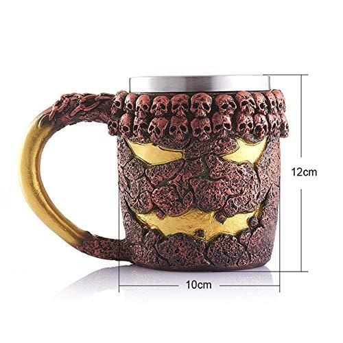 CCMOO 350 ML Doppelwand Edelstahl Schädel Kaffee Tee Flasche Becher Halloween Geburtstagsgeschenk trinkbecher Monster Milch (Becher Halloween Kaffee Billig)