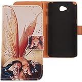 Lankashi PU Flip Funda De Carcasa Cuero Case Cover Piel Para LG G Pro Lite D684 D686 Wings Girl Design