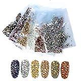 NICOLE DIARY 1440 Unids Nail Rhinestones Fondo Plano Tamaño Mixto AB Color 3D Nail Art Decoración Manicura DIY # 1