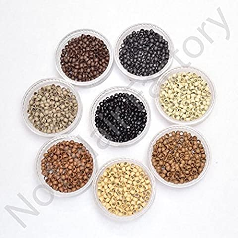 Silicone Lined Nano Rings Beads for use with Nano Tip Hair Extensions New - Black - Amount-100