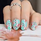 echiq Flamingo Muster grün künstliche Nägel rot Vogel rund Head Full-Cover Press on Nägel für Braut Büro Sommer tragen Zubehör