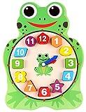FunnyGoo orologi didattici in legno numero colore forma partita blocchi bambino primi giocattoli di sviluppo ( Rana )
