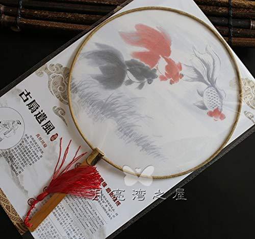 Powzz ornament Dekoartikel Sammlerstücke Klassischer Palast-Silk Durchscheinender Fan, Nachgemachtes Altes Kostüm, Tanz-Fan, Chinesischer Art, Chinesische Kleidung, Runder Fan, ()