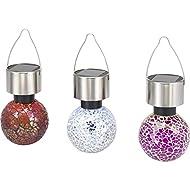 Lampe décorative solaire Forme de boule renkforce Mosaik Ampoule LED RVB chrome, clair set de 3