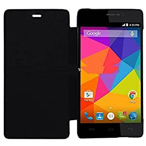 Aalika Intex Aqua N11 Flip Cover Black High Quality Plastic Back Synthetic Cover Perfect Fit