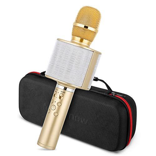 Karaoke Mikrofon, Mbuynow Bluetooth Mikrofon mit Lautsprecher und Selfiestick TWS 4.1 Karaoke für Kinder Tragbar KTV Player für PC iPhone iPad Android(Golden)