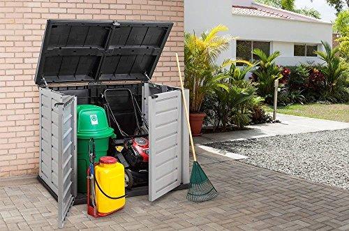 XXL Mülltonnenbox aus robustem Kunststoff. Deckelöffnung mit Gasdruckfeder. Abschließbar. Passend für 240 Liter Mülltonnen. Maße 155,8 x 90,4 x 116,6 cm. - 4