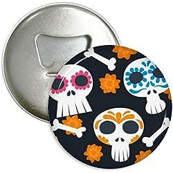 Huesos calavera flores México cultura ilustración redondo abridor de botellas nevera Imán Pins Badge botón regalo 3pcs
