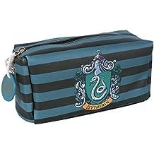 Slytherin Crest - Bolsa de lavado con diseño de rayas, color negro y verde