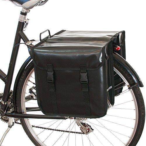 Beluko® Classic Doppel-Fahrradtasche, wasserdicht, fürs Einkaufen mit dem Fahrrad , Schwarz