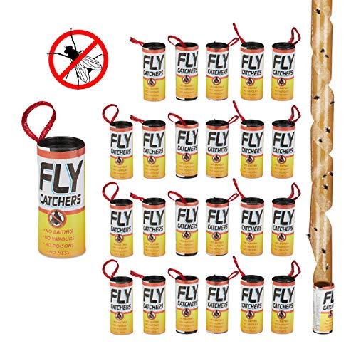 Relaxdays Fliegenfänger Leimrollen, 24er Set, giftfrei, umweltfreundlich, Klebefallen zum Aufhängen, Innenbereich, Braun -