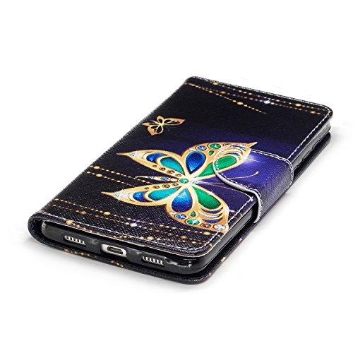 Huawei Honor 6X (5.5 pouce) Coque , PU Cuir Étui Protection Wallet Housse la Haute Qualité Pochette Anti-rayures Couverture Bumper Magnétique Antichoc Case Anfire Cover pour Huawei Mate 9 Lite / GR5 2 Noir et Papillon