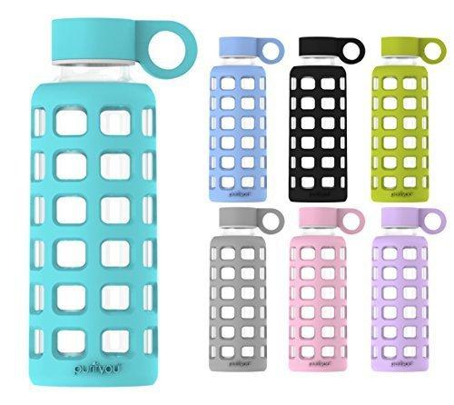 purifyou Glas-Wasserflasche mit Silikonhülle und Edelstahl-Deckeleinsatz, aqua blue (Sleeve Cap Tier)