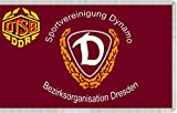 magFlags Flagge: Large SV Dynamo Flag Bezirksorganisation Dresden | The logo of the SV Dynamo Bezirksverwaltung Dresden is not considered as work of authorship because it only consists of text in a