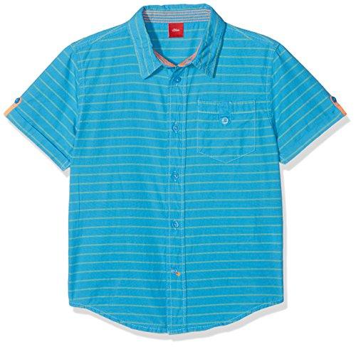 s.Oliver Jungen Hemd 63.804.22.6379, Blau (Blue Green Stripes 64g6), 116 (Herstellergröße: 116/122)