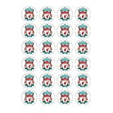 Liverpool FC style 24 Edible Wafer Paper Fairy/Cup Cake Toppers on an A4 sheet - Birthday Cake and Party Idea
