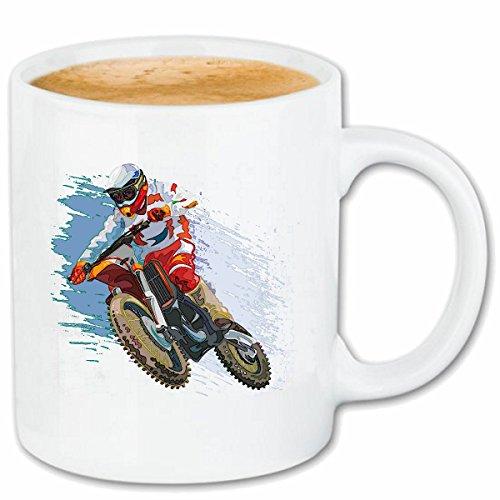 Preisvergleich Produktbild Reifen-Markt Kaffeetasse Motocross Silhouette 125CCM Moto-Cross Freestyle Motocross Motorrad Sport Bekleidung Biker Motorrad Bike Maschine Keramik 330 ml in Weiß