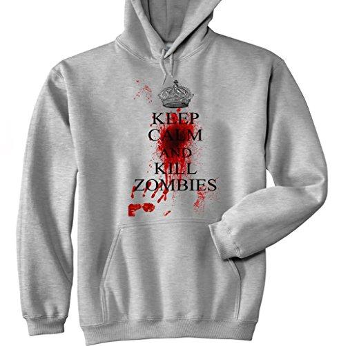 Teesquare1st Men's KEEP CALM & KILL ZOMBIES Felpa grigia con cappuccio di cotone XXLarge Size