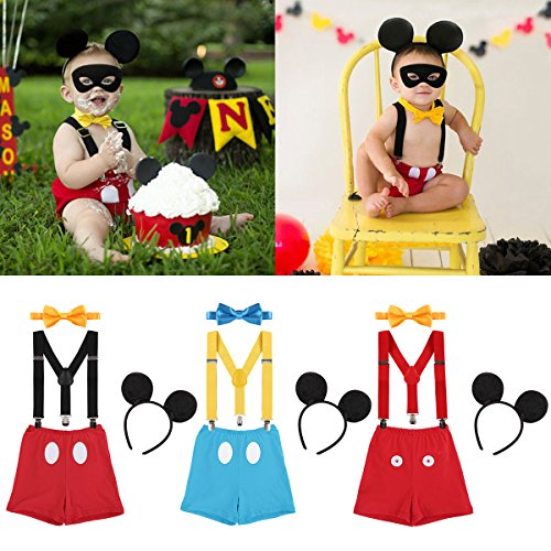 IWEMEK Newborn Baby Boys Girls Cute Mouse Costume 1st/2nd/3rd Birthday Cake Smash Bloomers Shorts + Adjustable Y Braces/Suspender + Bow Tie + Ears 4PCS Outfit Photo Shoot