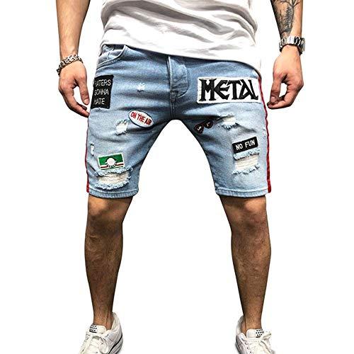 075c80aa4 XWGlory Pantalones Cortos para Hombre Pantalones Cortos De Rock Pantalones.