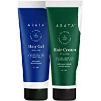 Arata Natural Curl defining Hair Styling Combo with Hair Gel & Hair Cream for Women & Men || All Natural,Vegan & Cruelty…