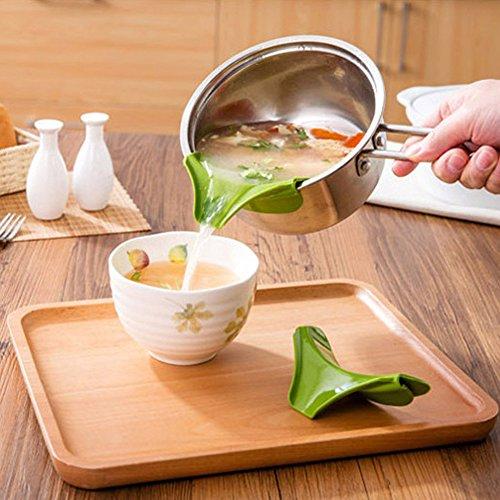 SwirlColor Küchenhelfer Silikon Ausgusstülle Mess freies Ausgießen Flüssigkeit Suppe Öl aus Schüsseln Pfannen Töpfe - 5