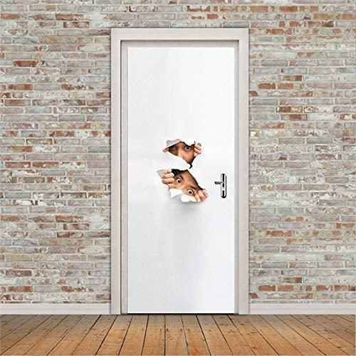 ZHANGDONGLAI Türaufkleber Abnehmbare Selbstklebende Papier Geheimnis Peep Eye DIY Home Decor Kunstwand Vinyl Tapete Aufkleber Tür Weiß Selbstklebend 77 * 200Cm