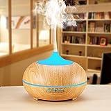 Difusor de aroma de SeaHost, humidificador ultrasónico silencioso con 300 ml, 7 luces LED de colores intercambiables, neblina de innovación más grande y apagado automático sin agua, purificador de air (Color de la madera clara)