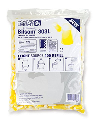 Honeywell 1006186 Howard Leight Large Bilsom Gehörschutz 303 Nachfüllpack Größe L (200 Stück)