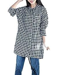 ELLAZHU Femme Ample Large Convenable Sleeves Longues Plaid Encapuchonné Shirt Chemisier GA639