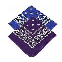 Set of 2 Paisley Bandanas - Royal blue and Purple bandannas scarf / Hankerchief / Head tie / Neck Tie / Neckerchief 100% Cotton , For Men, Women & Kids, High quality (Pack of 2)